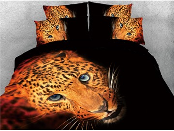 Leopard Head 4pcs Colorfast/Wear-resistant/Skin-friendly 3D Bedding Sets Black Duvet Cover with Ties