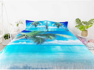 PhiloFun Palm Tree Leaves and Blue Sea Beach Printed 4-Piece 3D Bedding Sets Duvet Covers