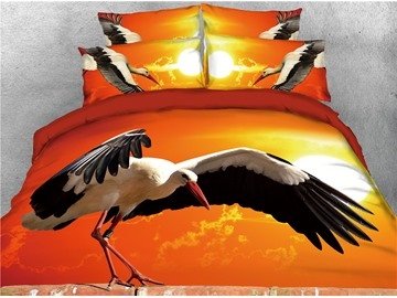 Crane with Open Wings and Sunset Printed 4-Piece 3D Bedding Sets/Duvet Covers