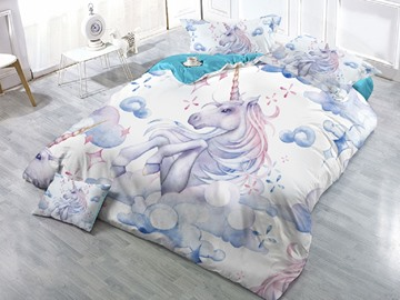 3D White Unicorn Colorfast/Wear-resistant/Skin-friendly 4-Piece Duvet Cover Set
