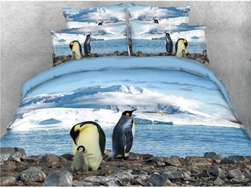 Antarctic Penguins Duvet Cover Set 3D Printed 4-Piece Bedding Sets