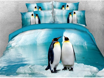 Penguin Couples and Their Friends Printed 3D 4-Piece Bedding Sets/Duvet Covers