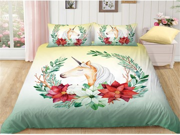 Anti-Allergic Smile Unicorn Printed 4-Piece Bedding Sets/Duvet Covers