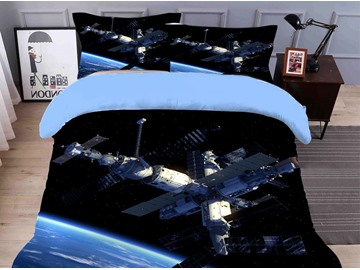 Fade Resistant And Breathable Spacecraft Printed 4-Piece 3D Galaxy Bedding Sets/Duvet Covers