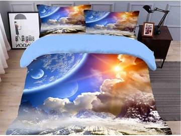 3D Sky Colorfast/Wear-resistant/Skin-friendly 4PCS Bedding Sets Blue Soft Duvet Cover with Ties