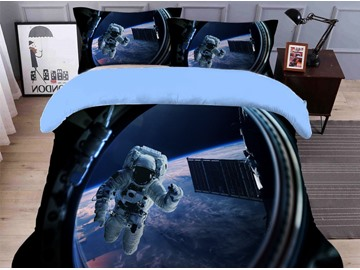 Soft and Fadeless Astronaut Printed 4-Piece 3D Galaxy Bedding Sets/Duvet Covers