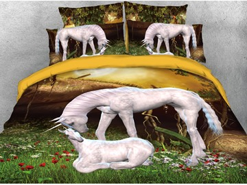 The Mother Unicorn And Her Baby On The Grass 3D Printed 4-Piece Polyester Bedding Sets/Duvet Covers