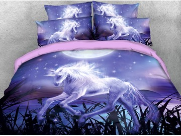 Unicorn Near The Reeds In The Purple Moonlight 3D Printed 4-Piece Cotton Bedding Sets/Duvet Covers