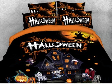 Trick Or Treat Halloween Theme 3D Printed 4-Piece Polyester Bedding Sets/Duvet Covers