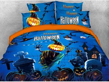 Pumpkin Scarecrow Halloween Theme 3D Printed 4-Piece Polyester Bedding Sets/Duvet Covers