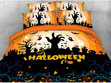 Cry For Help Halloween Theme 3D Printed 4-Piece Polyester Bedding Sets/Duvet Covers