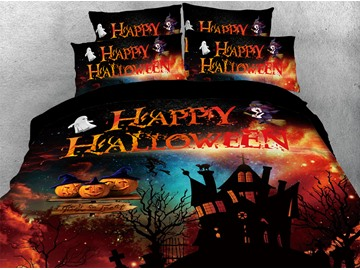 Horrible Castle Halloween Theme 3D Printed 4-Piece Polyester Bedding Sets/Duvet Covers
