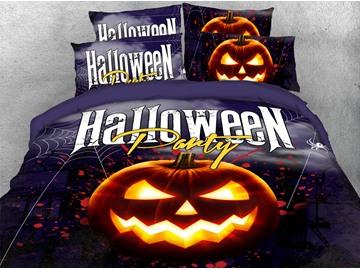 Evil Pumpkin Halloween Theme 3D Printed 4-Piece Polyester Bedding Sets/Duvet Covers