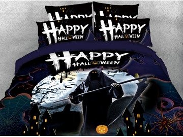 The Grim Reaper Halloween Theme 3D Printed 4-Piece Polyester Bedding Sets/Duvet Covers