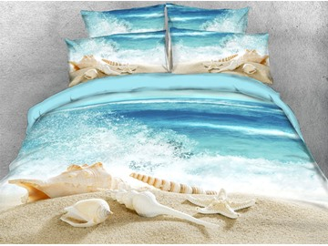 Beautiful Shells on The Beach 3D Printed 4-Piece Polyester Bedding Sets/Duvet Covers Endurable Skin-friendly Ultra-soft