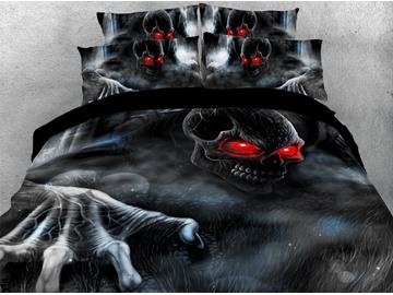 Red-eye Skeleton 3D Printed 4-Piece Polyester Bedding Sets/Duvet Covers