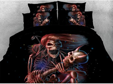 Long-haired Skeleton General 3D Printed 4-Piece Polyester Bedding Sets/Duvet Covers