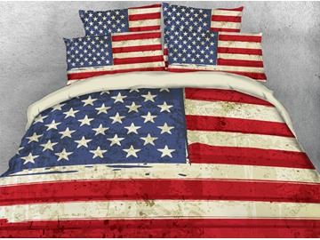 Classic American National Flag Reactive Print Polyester 3D United States Duvet Cover Set/Bedding Sets 4 Pieces