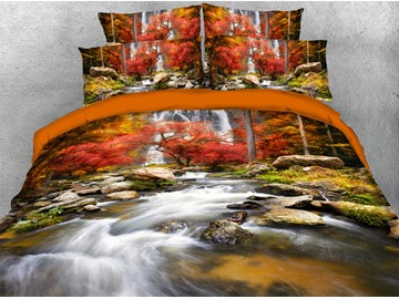 Natural Landscape 3D Autumn Duvet Cover Set 4-Piece Scenery Bedding Sets