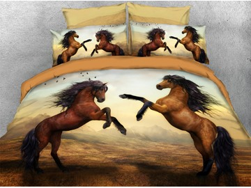 Brown Horses Soft Duvet Cover Set 4-Piece 3D Animal Bedding Set