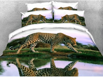 Leopard by the Lake Soft Duvet Cover Set 4-Piece 3D Animal Bedding Set