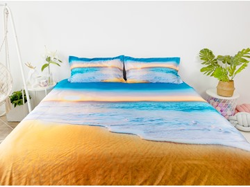 3D Sunset and Beach 4-Piece No-fading Soft Bedding Sets Durable Scenery Zipper Duvet Cover with Non-slip Ties