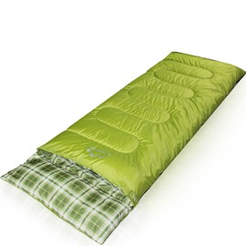 Rectangular Green Grid Outdoor Camping Hiking Traveling Sleeping Bag