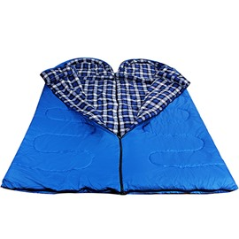 Lightweight Grid Blue Camping Traveling Couple Envelope Sleeping Bag
