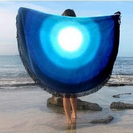 Amazing Gradient Circle Pattern Round Beach Throw Mat
