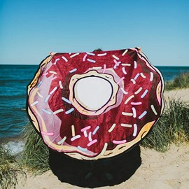 Creative Big Doughnut Pattern Round Beach Throw Mat