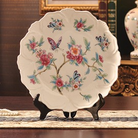 Wonderful American Country Style Butterfly and Flowers Ceramic Plate Desktop Decorations