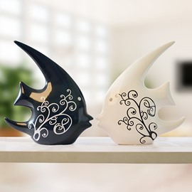 Wonderful Ceramic Fish Design 1-Pair Desktop Decoration