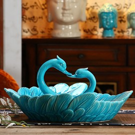 Simple European Style Blue Swan Fruit Dish Desktop Decoration