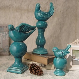 Blue Mediterranean Sea Style Bird Desktop Decoration