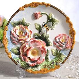 Creative Ceramic Roses Pattern Plate Desktop Decoration Painted Pottery