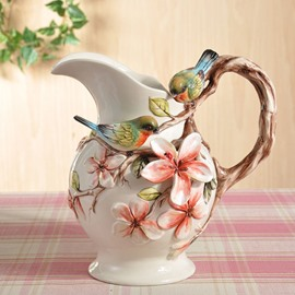 Unique Ceramic Bird and Flower Pattern Water Tank Painted Pottery