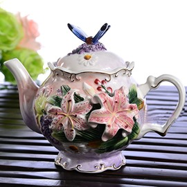 Decorative Ceramic Lily and Butterfly Teapot Painted Pottery