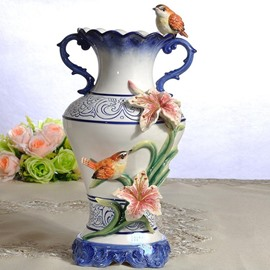 Blue Ceramic Decorative Birds Flower Vase Painted Pottery