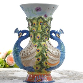 Modern Design Ceramic Two Peacock Heads Flower Vase Painted Pottery