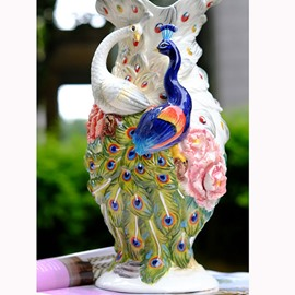 Delicate Ceramic Peacock Pattern Flower Vase Painted Pottery