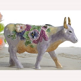 Bright Purple Ceramic Bull Desktop Decoration Painted Pottery