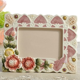 Beautiful Countryside Style Flower Pattern Photo Frame Painted Pottery