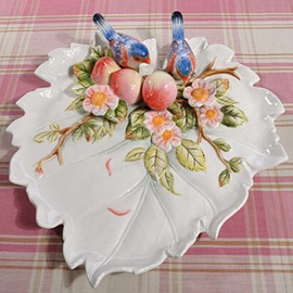 White Ceramic Peaches and Birds Pattern Fruit Plate Painted Pottery
