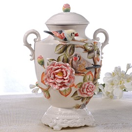 Elegant Ceramic Camellia Pattern Cooky Jar Painted Pottery