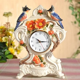 European Style Clamator Coromandus and Camellia Wall Clock Painted Pottery