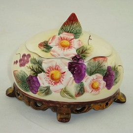 Ellipse Ceramic Flower Pattern Jewellery Box Painted Pottery