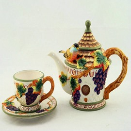 Wonderful Ceramic Grape Pattern Coffee Mug Set Painted Pottery