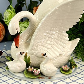 White Ceramic Swans Desktop Decoration Painted Pottery