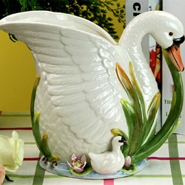 Cute Ceramic Swan Flower Vase Painted Pottery
