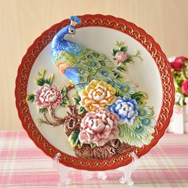 Delicate Ceramic 3D Peacock Pattern Plate Desktop Decoration Painted Pottery